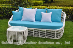 Thick Round PE Rattan White Sofa Outdoor Lounge (CP0093) pictures & photos
