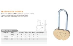 Love Padlock Double Heart Brass Padlock for Lovers pictures & photos