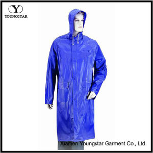 Blue Color PVC Waterproof Rain Coat with Hood pictures & photos