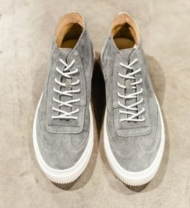 Gray High Top Leather Casual Shoes (CAS-058) pictures & photos