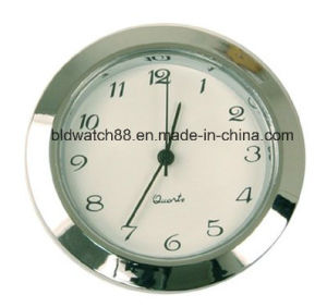 Quartz Movement Insert Round Silver Tone Mini Clock with Numbers pictures & photos