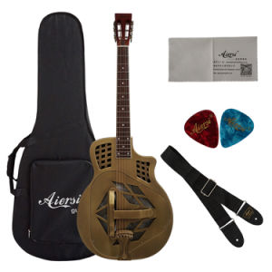 Aiersi Bell Brass Metal Body Tricone Resonator Resophonic Guitar pictures & photos