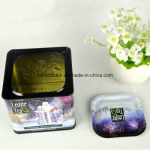 Custom Made Square Metal Tea Tin Box with Airtight Lid pictures & photos