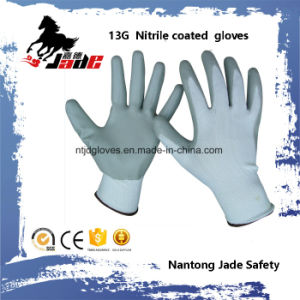 13G Nylon Line Palm Gary Nitrile Smooth Coated Glove pictures & photos