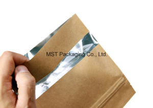 Zipper Paper Bag/Clear Window Flat Bag/3 Side Seal Bag pictures & photos