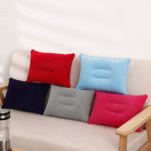 Outdoor Portable Folding Air Inflatable Pillow Double Sided Flocking Cushion for Travel Plane Hotel pictures & photos