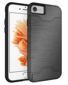 Multi-Functional Metal Texture Drawing Card Shell for iPhone7 Case pictures & photos