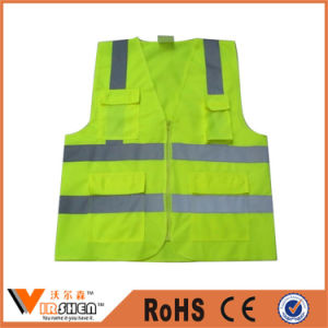 100% Polyester Yellow Color Traffic Warning Reflective Vest pictures & photos