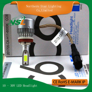 H1 H3 H4 H7 H11 9006 9007 Super Bright LED Headlight Bulb C6 12V LED Car Headlight Plug and Play pictures & photos