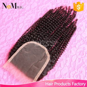 Guaranteed Quality Can Dye Any Color Brazilian Kinky Curly Virgin Hair Closure pictures & photos