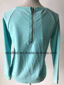 Shiny Beautiful Terry Pullover for Girl with Burn out pictures & photos