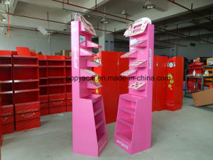 Cardboard Adversting Cosmetic Floor Display Shelf with Full Color Printed, Free Standing Display Racks pictures & photos