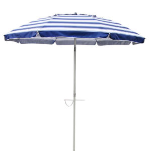 Cotton Polyester Beach Umbrella in Navy/White Stripe 210cm 98% UV Protection