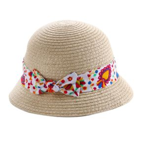 Girl′s Bow Printed Hatband with Plaided Round Hat pictures & photos