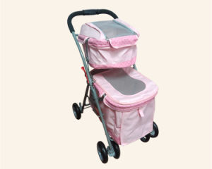 Quality Strong Twins Pet Trolley Double Layers Dog Strollers pictures & photos