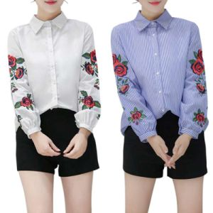 Women′s Summer Spring Long Sleeve Blouse Floral Embroidered Shirt Striped Casual Shirt Tops pictures & photos