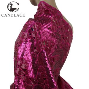 Fushia Pink Double Handcut Sequins Organza Lace pictures & photos