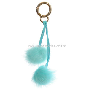 Wholesale Faux Fur POM POM Bag Accessory Blue Double Balls Keychain Jewelry Gift pictures & photos