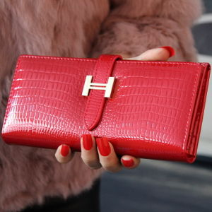 Buckle Long Purse and Wallet Female Large Crocodile Leather with Patent Leather Wallet Really pictures & photos