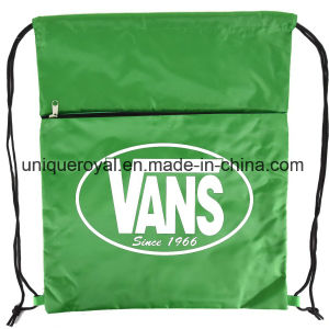 210 Denier Nylon Drawstring Backpack with Zipper pictures & photos