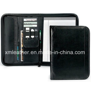 A5 Zip PU Leather Conference File Folder with Phone Case pictures & photos