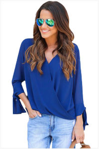 Womens V Neck Ruched Tie Sleeve Top pictures & photos