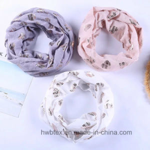100% Polyester Voile Multifunctional Scarf with Heart Gold Stamping (HWBPS025) pictures & photos