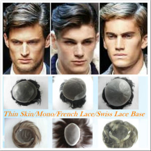 High Quality Free Style Remy Human Hair Toupee for Man pictures & photos