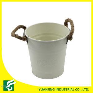 Home Garden Metal Zinc Bucket with Hemp Rope Handle pictures & photos