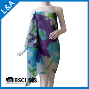 Polyester Cotton Voile Blue Printed Scarf for Women pictures & photos