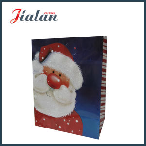 Glossy Laminated Art Paper Glitter Father Christmas Gift Paper Bag pictures & photos
