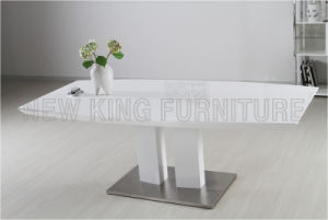 Modern Cheap White High Gloss Wooden Table Top Stainless Steel Foot Dining Table (NK-DT064)