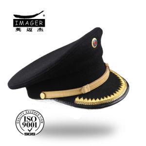 Cheapest Wool Black Military Caps with Gold Chin Strap pictures & photos