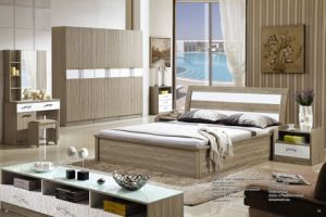 Professional MDF Ash Wood King Size Bed Home Furniture