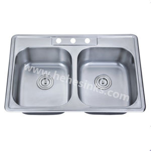 One Piece Double Bowl Topmount Stainless Steel Sink, Kitchen Sink (8456) pictures & photos