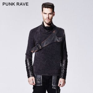 Punk Black Turtle Neck Mask a T-Shirt with Hight Collar (T-418) pictures & photos