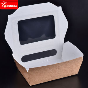 Take out Paper Salad Containers with Pet Window pictures & photos