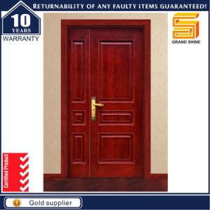 Exterior Double Panel Design Solid Wood Veneer Wooden Door pictures & photos
