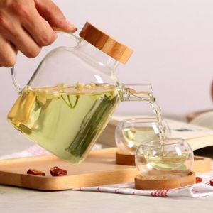 Creative Design Glassware Glass Tea Pitcher Set Pyrex Tea Jug Tea Pot pictures & photos