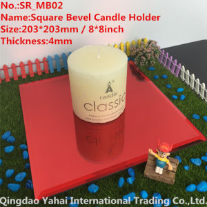 4mm Red Bevel Glass Mirror Candle Holder pictures & photos