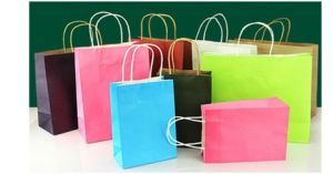 Promotion Paper Shopping Bags, Custom Color Kraft Bags