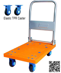 300kg Plastic Hand Trolley with PU Caster pictures & photos