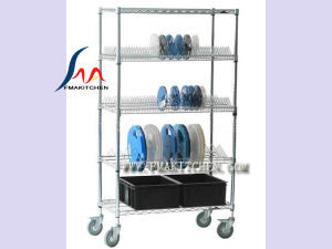 Wire Shelf with Caster, Shelving Cart, Customized Mobile Storage Shelves pictures & photos