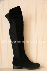 Latest Low Heels Elastic Winter Leather Women Boots pictures & photos