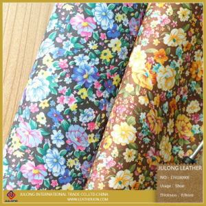 Flower Patter Cloth Fabric PU Leather (CF018090E) pictures & photos