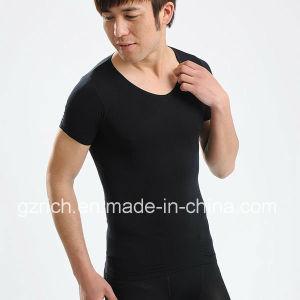Body Shaper Men′s Taping Inner Black Short Sleeve/Men T-Shirts pictures & photos