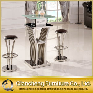New Style Tempered Glass Bar Table with Bar Chairs pictures & photos