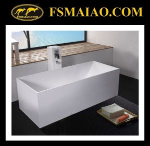 Rectangle White Bathtub Solid Surface Freestanding (BS-8617) pictures & photos