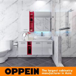 Oppein Modern White Lacquer Glass Bathroom Vanity (OP15-130B) pictures & photos