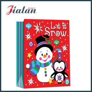 Glossy Laminated Art Paper Christmas Snowman Packing Gift Paper Bag pictures & photos